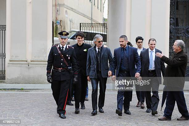 Italian singer Andrea Bocelli and his sons arrive at Sanctuary of Madonna di Montenero for his wedding with Veronica Berti on March 21 2014 in...
