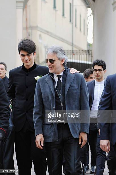 Italian singer Andrea Bocelli and his sons Matteo and Amos Bocelli arrive at Sanctuary of Madonna di Montenero for his wedding with Veronica Berti on...