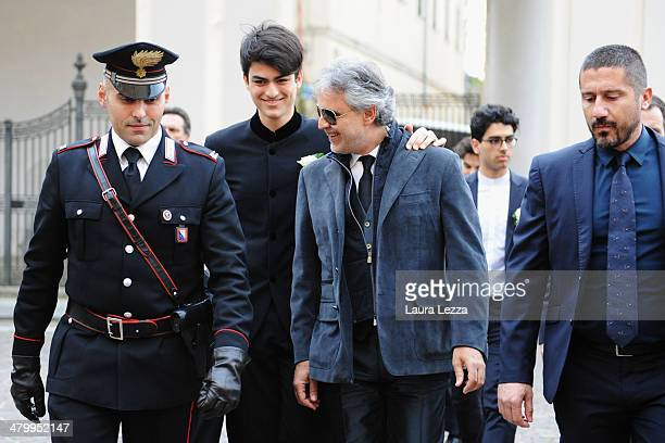 Italian singer Andrea Bocelli and his sons Matteo arrive at Sanctuary of Madonna di Montenero for his wedding with Veronica Berti on March 21 2014 in...