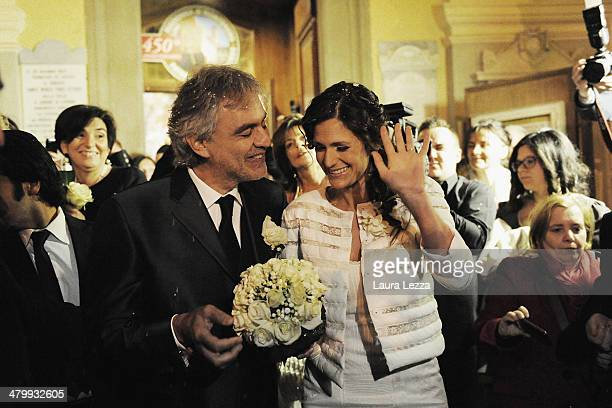 Italian singer Andrea Bocelli and Veronica Berti leave the Sanctuary of Madonna di Montenero after their wedding on March 21 2014 in Livorno Italy