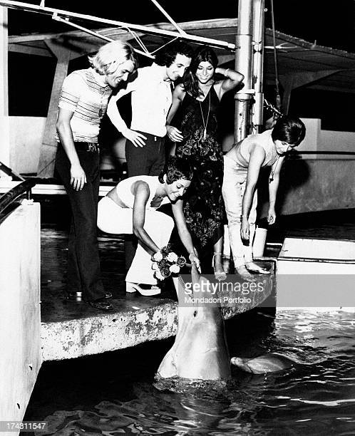 Italian singer Angela Brambati getting a bunch of flowers from a dolphin. The other members of the band Ricchi e Poveri or Italian singers Marina...