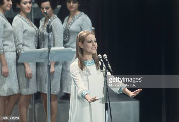 Italian singer Anna Identici performing at the 18th Sanremo Music Festival Sanremo February 1968