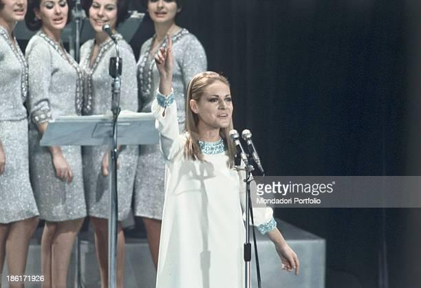 Italian singer Anna Identici performing at the 18th Sanremo Music Festival Sanremo February 1968