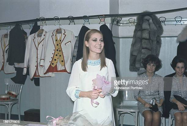 Italian singer Anna Identici smiling in the dresssing room of the 18th Sanremo Music Festival Sanremo February 1968