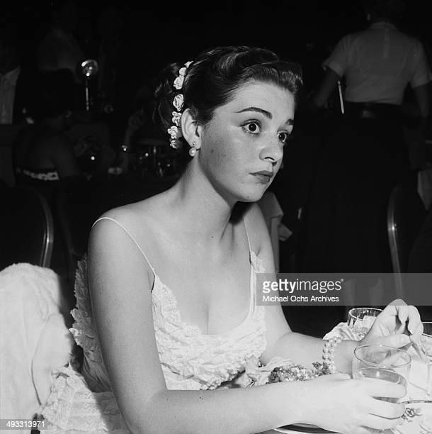 Italian singer Anna Maria Alberghetti at Cocoanut Grove to listen to Eddie Fisher in Los Angeles California