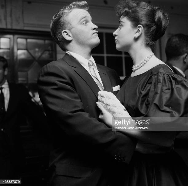 LOS ANGELES CALIFORNIA FEBRUARY 23 1956 Italian singer Anna Maria Alberghetti with Gary Crosby attends the Foreign Press Awards in Los Angeles...