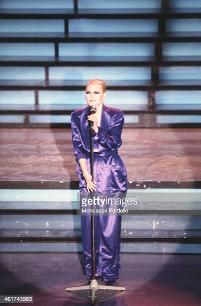 Italian singer Anna Oxa born Iliriana Hoxha taken on the stage of the Teatro Ariston just before her performance at the XXXVIII edition of the...