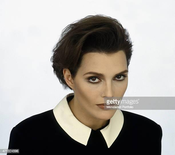 Italian singer Anna Oxa posing 1989