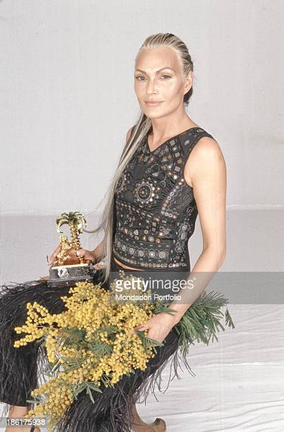 Italian singer Anna Oxa posing at 49th Sanremo Music Festival that she won with the song Senza pietà Sanremo February 1999