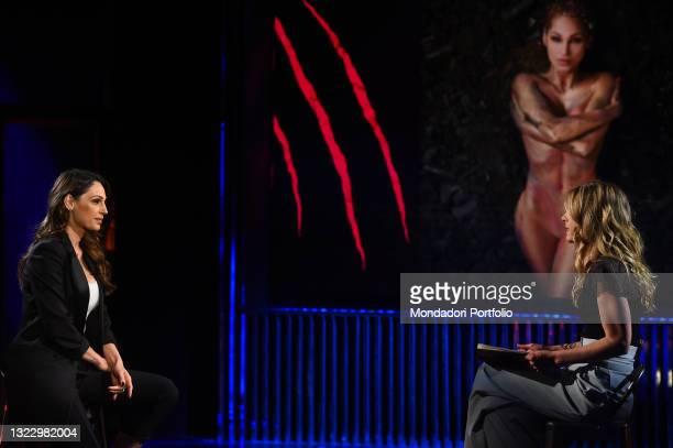 Italian singer Anna Tatangelo and Italian presenter Francesca Fagnani during the broadcast Belve. Rome , June 10th, 2021