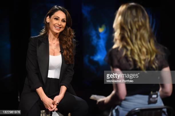 Italian singer Anna Tatangelo during the broadcast Belve. Rome , June 10th, 2021