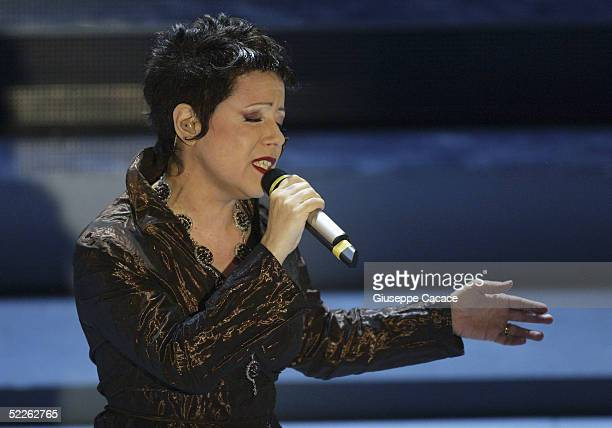 Italian singer Antonella Ruggiero performs at the first day of the San Remo Festival at the Ariston Theatre on March 1, 2005 in San Remo, Italy. The...