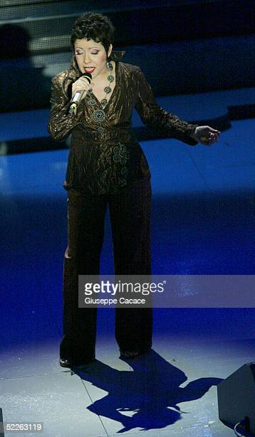 Italian singer Antonella Ruggiero performs at the first day of the San Remo Festival at the Ariston Theatre on March 1 2005 in San Remo Italy The...