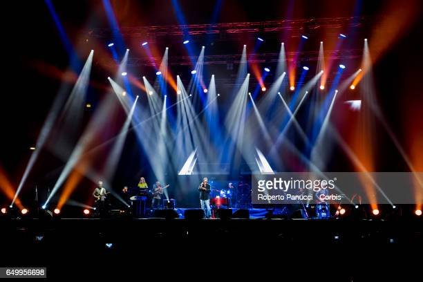 Italian singer Antonello Venditti performs in concert at Palalottomatica Arena on March 08 2017 in Rome Italy