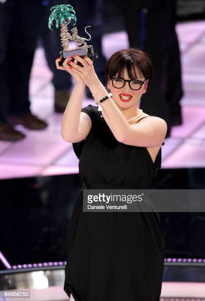 Italian singer Arisa attends the fourth evening of the 59th San Remo Song Festival at Ariston Theatre on February 20 2009 in San Remo Italy