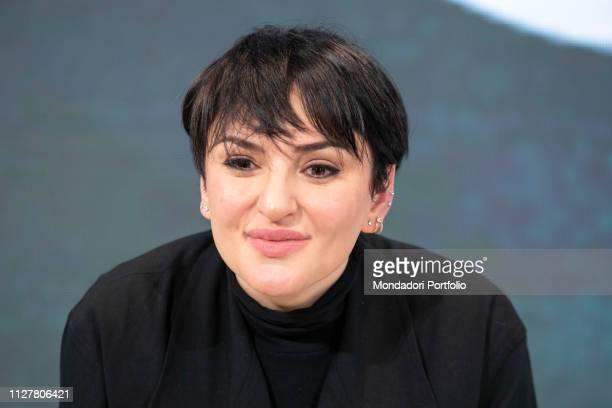 Italian singer Arisa in the Press Room of the 69th Sanremo Music Festival Sanremo Fabruary 6th 2019