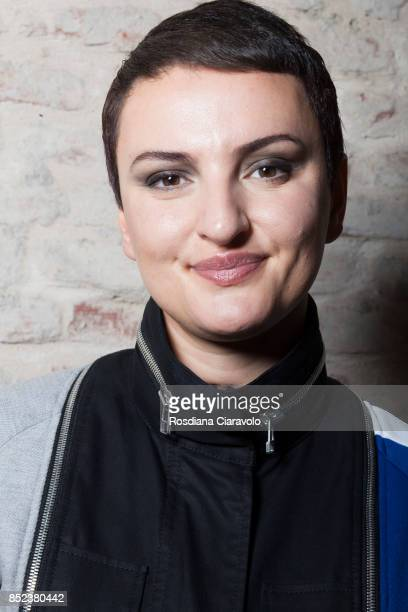 Italian singer Arisa is seen backstage ahead of the Atsushi Nakashima show during Milan Fashion Week Spring/Summer 2018on September 20 2017 in Milan...