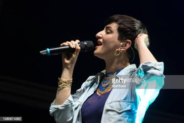 Italian singer Arisa performs on stage at Estathè Market Sound festival in milan on May 16 2015