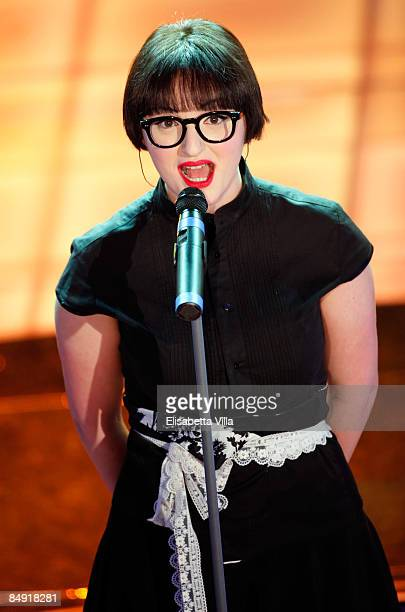 Italian singer Arisa performs onstage on the second evening of the 59th San Remo Song Festival at Ariston Theatre on February 18, 2009 in San Remo,...