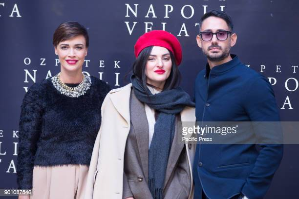 Italian singer Arisa with Italian actress Roberta Giarrusso and Riccardo Pasquale during photocall of the Italian film 'Napoli Velata'
