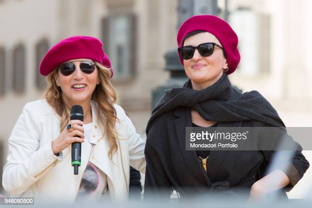 Italian singer Arisa with Jo Squillo piazza Duomo during the event Il futuro é donna for the women's rights conceived by italian singer Jo Squillo...