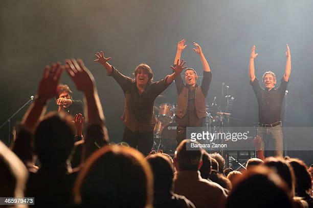 Italian singer Cristiano De Andre with his band performs on stage at Teatro Toniolo on January 30 2014 in Mestre Italy