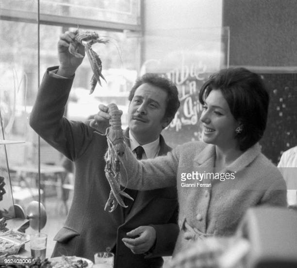 Italian singer Domenico Modugno with his wife Franca Gandolfi Madridd Spain