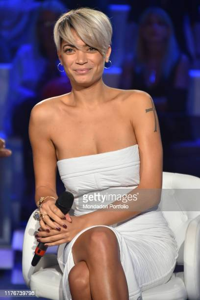 Italian Singer Elodie during tv broadcast Domenica In in the Fabrizio Frizzi Rai Studios Rome September 22th 2019