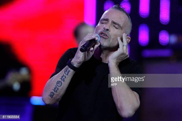 Italian singer Eros Ramazzotti performs at the Vina del Mar song festival in Vina del Mar Chile on February 23 2016 AFP PHOTO /Aton Chile Luis Collao...