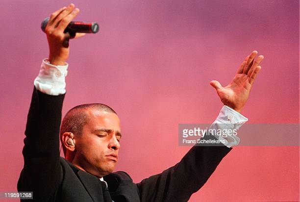 Italian singer Eros Ramazzotti performs live on stage at Amsterdam Arena in Amsterdam Netherlands on 26th August 1996