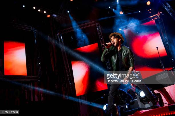 Italian singer Fabrizio Moro performs at 1st Of May Concert on May 01 2017 in Rome Italy