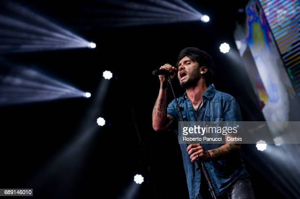 Italian singer Fabrizio Moro performs in concert at Palalottomatica Arena on May 26 2017 in Rome Italy