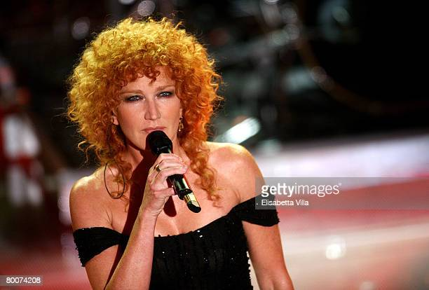 Italian singer Fiorella Mannoia performs on stage at the Teatro Ariston on February 29, 2008 in Sanremo, Italy.