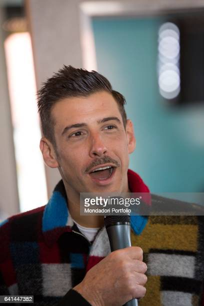 Italian singer Francesco Gabbani at 67th Sanremo Music Festival press room Sanremo february 8 2017