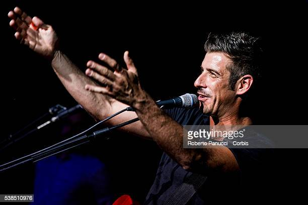 Italian singer Francesco Gabbani performs in concert at Quirinetta Theatre on June 04 2016 in Rome Italy