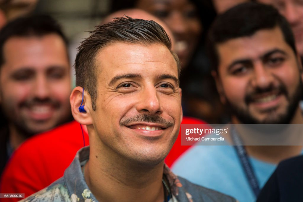 Italian singer Francesco Gabbani visits the press center ahead of the final of the 62nd Eurovision Song Contest at International Exhibition Centre (IEC) on May 13, 2017 in Kiev, Ukraine. The final of this year's Eurovision Song Contest will be aired on May 13, 2017.