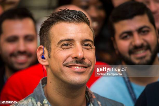 Italian singer Francesco Gabbani visits the press center ahead of the final of the 62nd Eurovision Song Contest at International Exhibition Centre on...