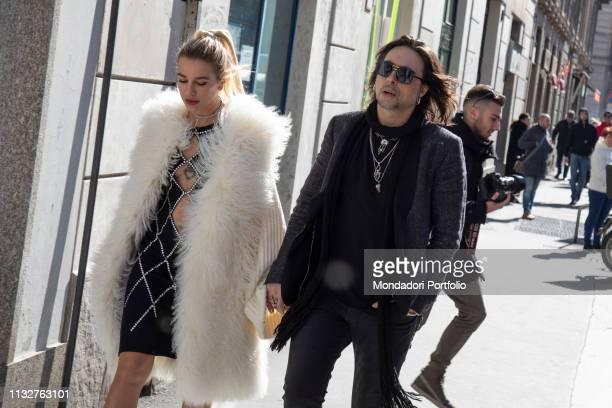 Italian singer Francesco Sarcina and italian showgirl Clizia Incorvaia arrive at the Laura Biagiotti show of Milan Fashion Week Woman F/W 19 Milan...