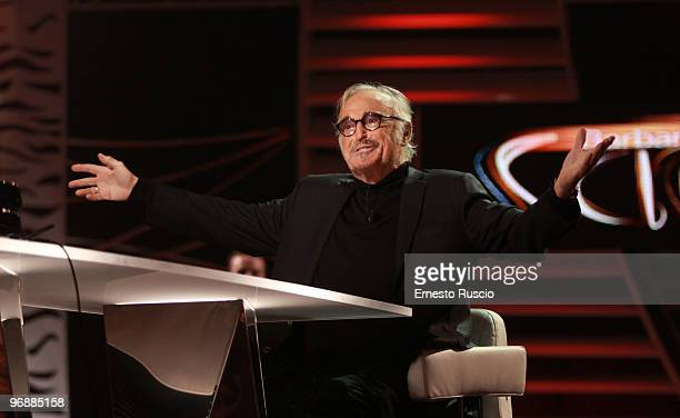 Italian singer Franco Califano attends the 'Barbareschi Sciok' tv show at LA7 studios on February 19 2010 in Rome Italy