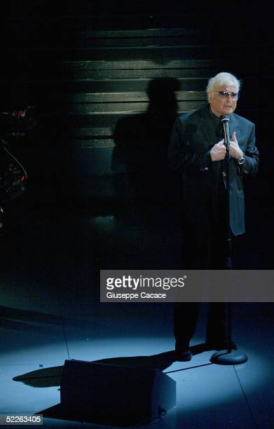 Italian singer Franco Califano performs at the first day of the San Remo Festival at the Ariston Theatre on March 1 2005 in San Remo Italy The...