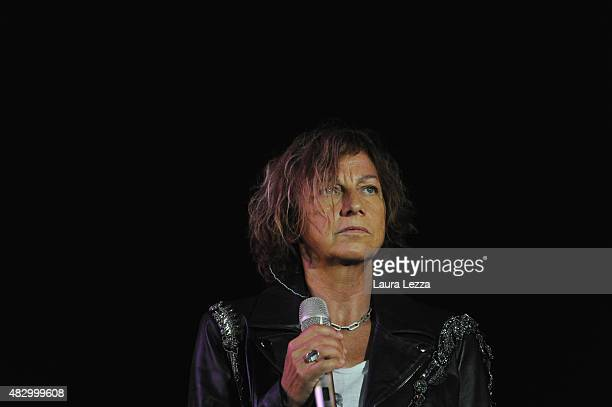 Italian singer Gianna Nannini performs at Teatro del Silenzio during the 10th edition of Andrea Bocelli's Teatro del Silenzio summer concert in his...