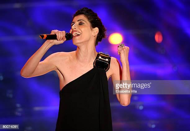 Italian singer Giorgia performs on stage at the Teatro Ariston on February 29, 2008 in Sanremo, Italy.