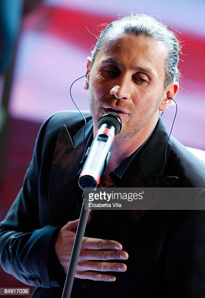 Italian singer Giuseppe Povia performs at the second evening of the 59th San Remo Song Festival at Ariston Theatre on February 18 2009 in San Remo...