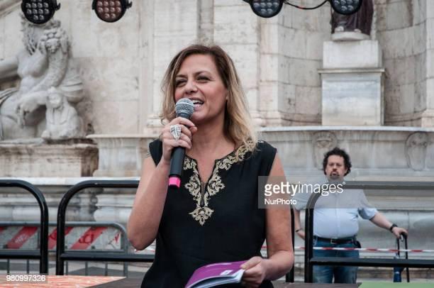 Italian singer Irene Grandi during ''International Day of Yoga'' in Campidoglio Square Rome on June21 2018 in Rome Italy