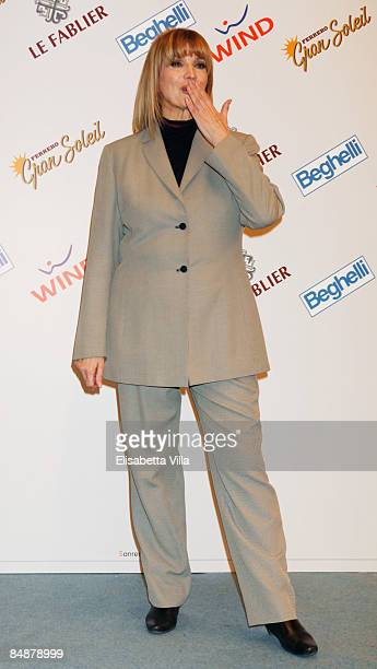 Italian singer Iva Zanicchi poses during the 59th San Remo Song Festival at Ariston Theatre on February 18 2009 in San Remo Italy