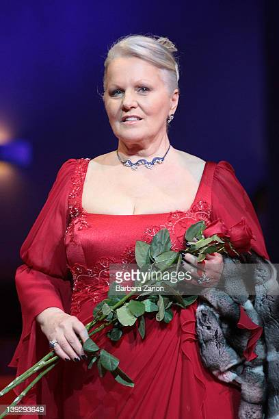 Italian singer Katia Ricciarelli attends the exclusive Ballo della Cavalchina at Fenice Theatre on February 18, 2012 in Venice, Italy.