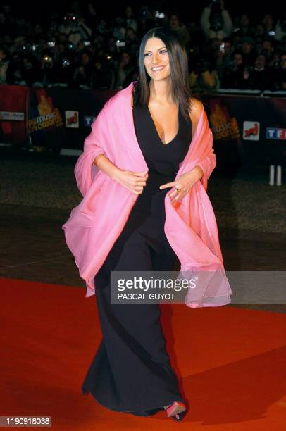 Italian singer Laura Pausini arrives 24 January 2004 at Cannes' Palais des Festivals, for France's annual NRJ music awards. The awards are held as...