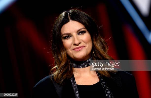 Italian singer Laura Pausini attends 'La Voz' Photocall In Madrid on January 29 2020 in Madrid Spain