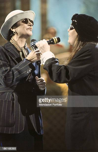 Italian singer Loredana Berté and her sister and Italian singer Mia Martini performing at the 43rd Sanremo Music Festival Sanremo February 1993