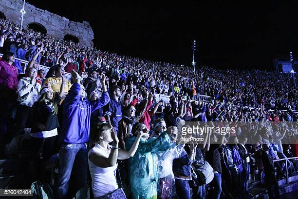 Italian singer Luciano Ligabue performs in the first day of the tour Arena 2013 into Arena di Verona Italy on September 16 2013 The six concerts...